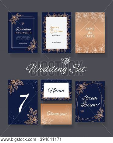 Floral Wedding Set Of Print Templates For Printing In Dark Color With Area For Text. Indigo With Gol