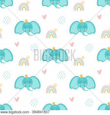 Baby Elephant Pattern. Sweet Elephant Patterns Cartoon Blue Elephant Head With Crown, Rainbow, Cute