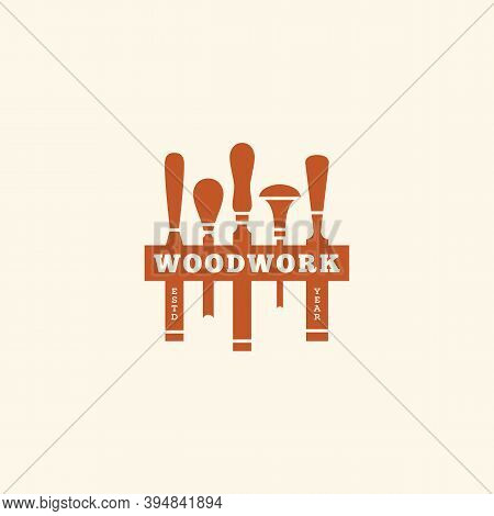 Logo Design Template With Set Of Chisels For Wood Shop, Carpentry, Woodworkers, Wood Working Industr