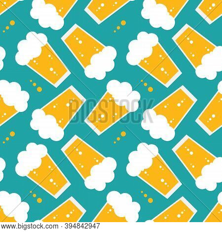 Lager Beer Glasses Cartoon Style Vector Seamless Pattern Background For International Beer Day Desig
