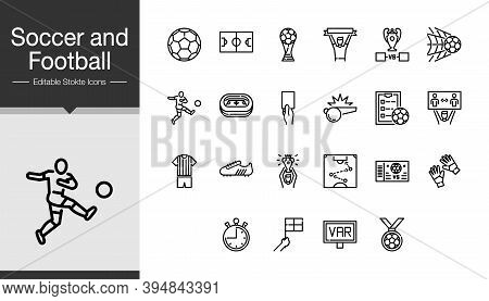 Soccer And Football Icons. Modern Line Design. For Presentation, Graphic Design, Mobile Application