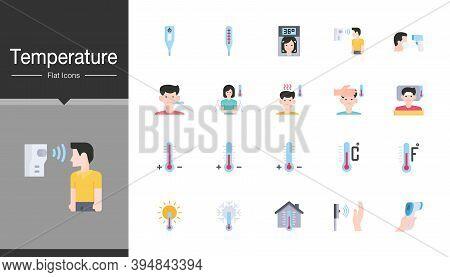 Temperature Icons. Flat Design. For Presentation, Graphic Design, Mobile Application Or Ui. Vector I