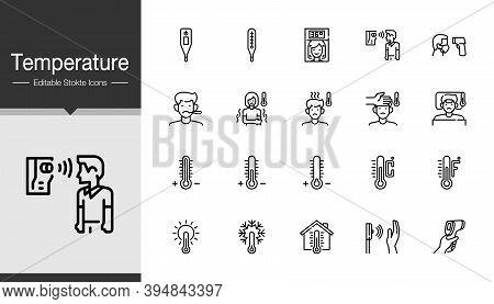 Temperature Icons. Modern Line Design. For Presentation, Graphic Design, Mobile Application Or Ui. E