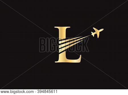 Modern Air Travel L Logo Design With L Letter. Letter L Air Travel Logo Design Template.
