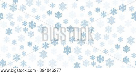 Beautiful Seamless Christmas Background With Various Complex Big And Small Snowflakes On White. Mode
