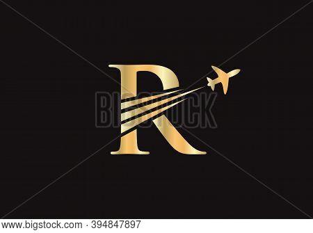 Modern Air Travel R Logo Design With R Letter. Letter R Air Travel Logo Design Template.