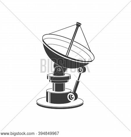 Satellite Dish Isolated On White Background. Vector Illustration. Satellite Dish Silhouette