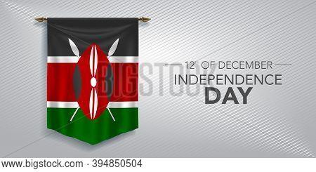 Kenya Independence Day Greeting Card, Banner, Vector Illustration