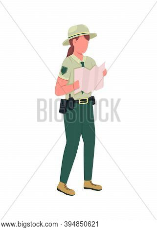 Environmental Police Female Officer Flat Color Vector Faceless Character. Ranger In Uniform With Map