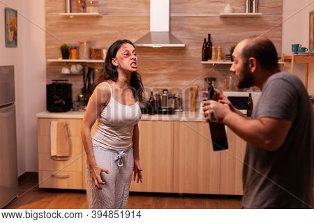 Abused Wife Screaming In Dispair Because Of Agressive And Alcoholic Husband. Traumatised Abused Terr