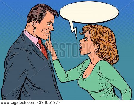 Couple Quarreling, Woman And Man. Husband And Wife Scandal. Pop Art Retro Illustration Vintage Kitsc