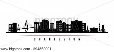 Charleston Skyline Horizontal Banner. Black And White Silhouette Of Charleston City, South Carolina.