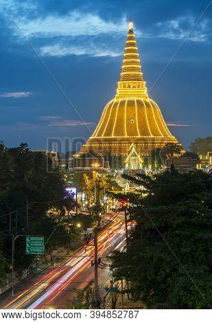 Phra Pathommachedi Stupa Located In The Wat Phra Pathommachedi Ratcha Wora Maha Wihan Beautifully De