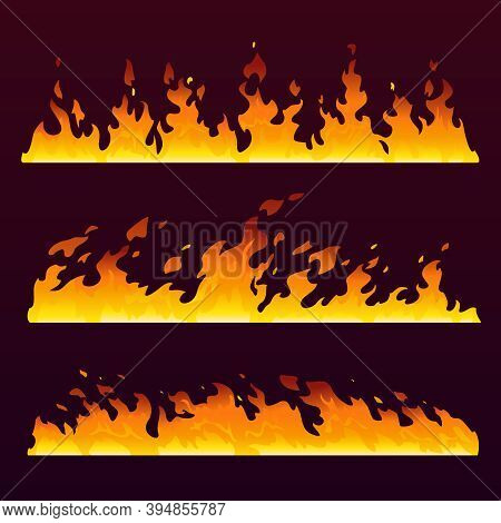 Fire Flames Wall With Burning Trail, Fireball Pattern, Cartoon Background. Hot Blaze Of Sizzling Wil