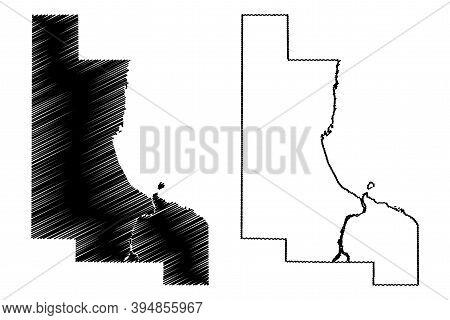 Bay County, Michigan (u.s. County, United States Of America, Usa, U.s., Us) Map Vector Illustration,