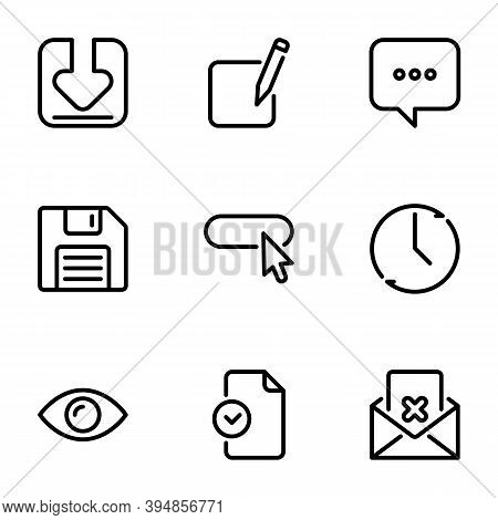 Set Of Black Vector Icons, Isolated On White Background, On Theme Loading, Editing Documents And Fil