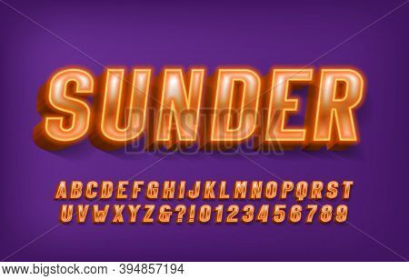 Sunder Alphabet Font. Yellow Neon Light 3d Letters And Numbers. Stock Vector Typescript For Your Typ