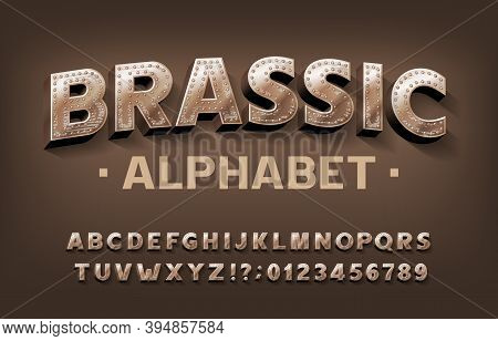 Brassic Alphabet Font. Steampunk Scratched Letters And Numbers With Rivet. Stock Vector Typescript F