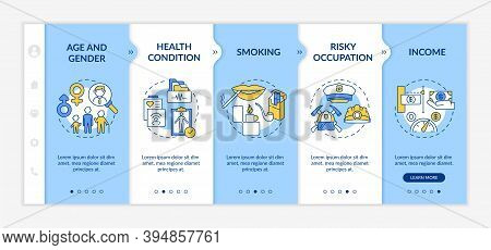 Insurance Cost Factors Onboarding Vector Template. Risky Occupation. Income From Buying Insurances.