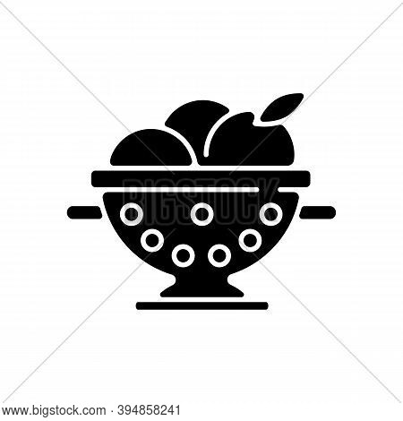 Colander Black Glyph Icon. Strainer To Rinse Fruits. Wash Fruits In Pot With Holes. Kitchen Tool For