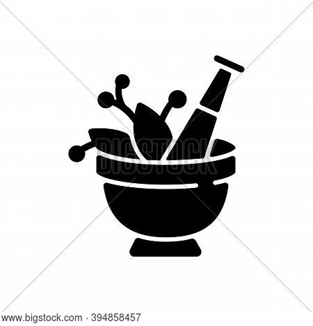 Mortar And Pestle Black Glyph Icon. Kitchen Tool To Mesh Herbs. Cooking Utensil To Mix Condiments. F