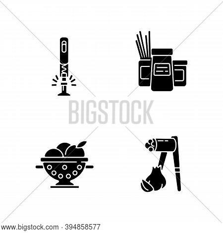 Food Preparation Tools Black Glyph Icons Set On White Space. Corkscrew For Bottle. Kitchen Storage C