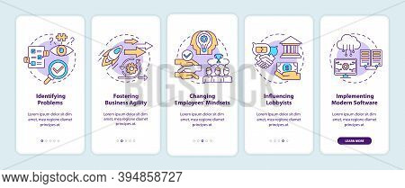 Business Consulting Tasks Onboarding Mobile App Page Screen With Concepts. Fostering Business Agilit