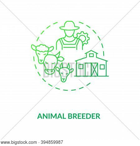 Animal Breeder Concept Icon. Top Agriculture Careers. Responsible For Producing Different Animals Ty