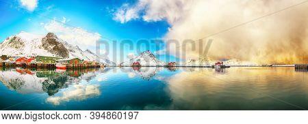 Fabulous Panoramic View Of Ramberg Village And Port At Sunrise. Travel Destination On Lofotens.. Loc