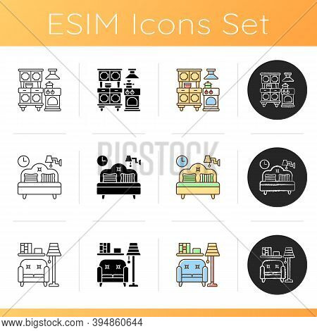 Home And Living Icons Set. Kitchen Appliances. Bedding. Living Room. Home Furnishings. Dining Room F