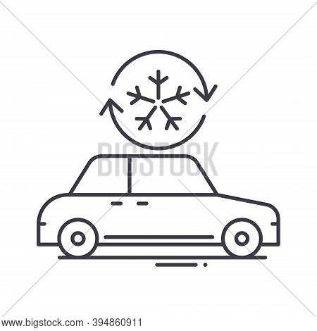Car Air Conditioning Icon, Linear Isolated Illustration, Thin Line Vector, Web Design Sign, Outline