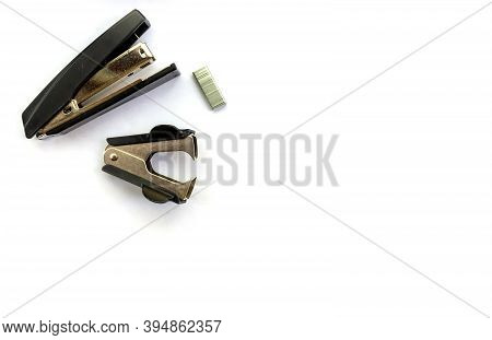 Isolated Items For Study And Work In The Office And At Home Stapler Staples Office Top View On A Whi