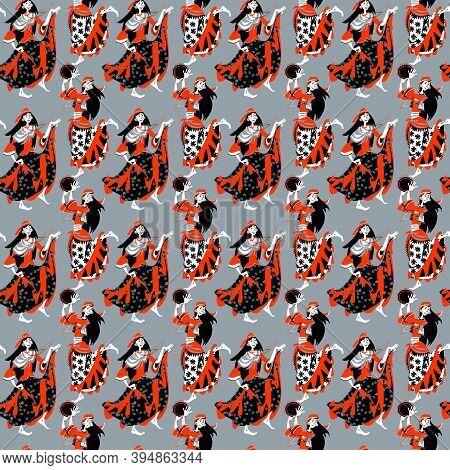 Romany Dance. Gypsy Girls Dancing. Seamless Background Pattern. Vector Illustration