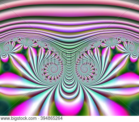 Computer Generated Abstract Colorful Fractal Artwork Immaginating Spiral Flower