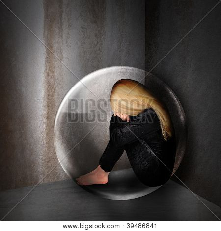 Sad Depressed Woman In Dark Bubble