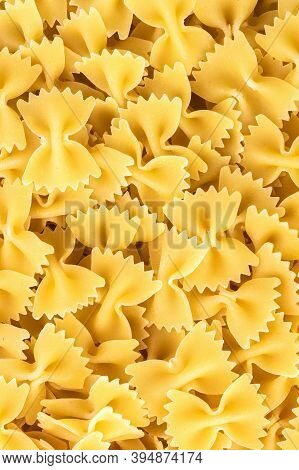 Famous Variety Of Type And Shape Of Italian Pasta. Dry Pasta Bows
