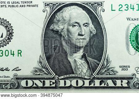 Benjamin Franklin's View Of The Hundred-dollar Bill. Benjamin Franklin Portrait Macro Us Dollar Bill