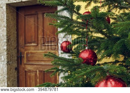 Christmas Tree Red Balls Toy Rustic Holidays Decoration In Poor Ghetto Back Street District Area Wit
