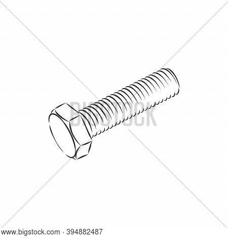 Bolt Icon. Vector Illustration Of A Screw. Hand Drawn Bolt, Screw Tool. Bolt, Metal, Vector Sketch I