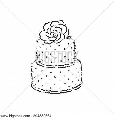 Doodle Style Birthday Cake And Cake Slice Illustration In Vector Format Suitable For Web, Print, Or