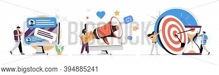 Web Design And Targeted Advertisement Flat Icons Set. Newsletter Digital Promotion. Email Marketing,