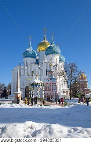 Sergiev Posad, Moscow Region, Russia - February 27, 2018: Holy Trinity-st. Sergius Lavra. Cathedral