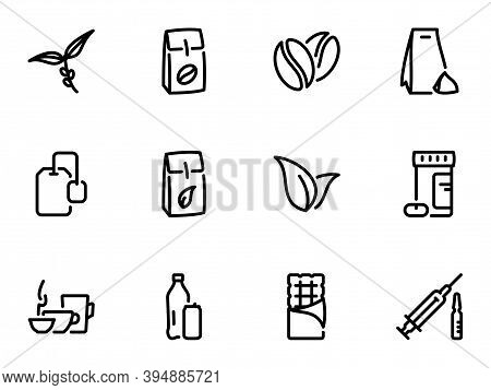 Set Of Black Vector Icons, Isolated Against White Background. Illustration On A Theme The Main Types