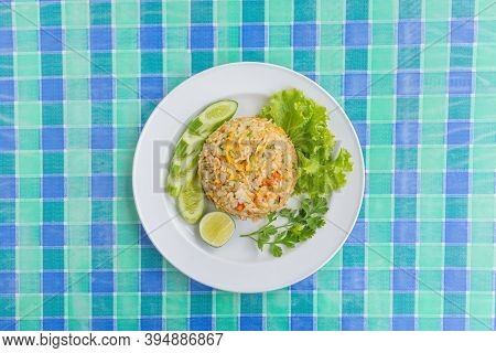 Crab Meat Fried Rice Thai Local Food, Top View