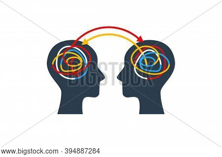 Human Heads With Colorful Lines. Experience And Knowledge Exchange Concept. Vector Illustration. Bra