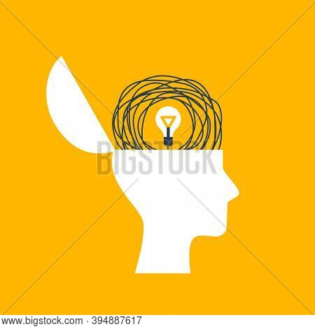 Concept Of Psychotherapy, Brainstorming And Mental Problem Solving. Vector Illustration. Brain As Ta