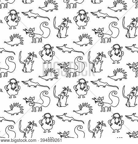 One Line Hand Drawn Animals Rat, Mouse, Mole, Hedgehog. Seamless Pattern