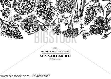 Floral Design With Black And White Peony, Carnation, Ranunculus, Wax Flower, Ornithogalum, Hyacinth