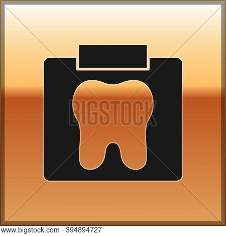 Black X-ray Of Tooth Icon Isolated On Gold Background. Dental X-ray. Radiology Image. Vector