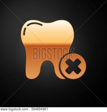 Gold Tooth With Caries Icon Isolated On Black Background. Tooth Decay. Vector